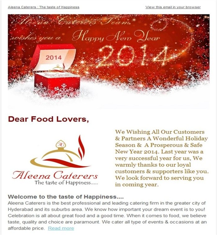 Happy New Year 2014 From Aleena Caterers : The taste of Happiness Hyderabad